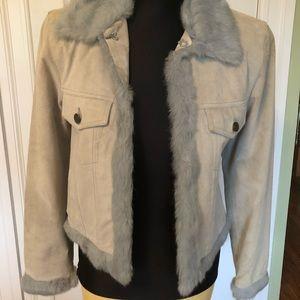 Suede rabbit fur jacket